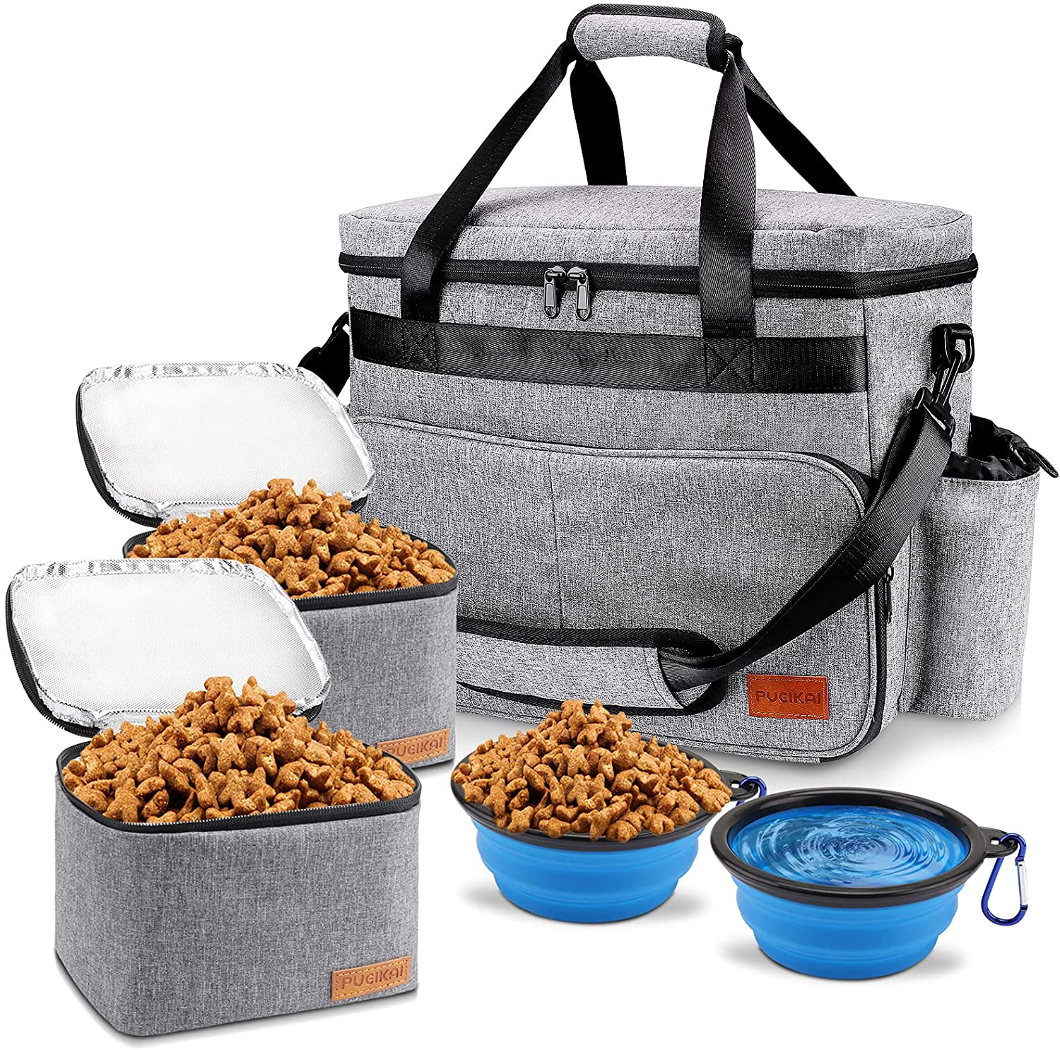 Dog Travel Bag, Airline Approved Pet Tote Organizer with Multi-Function Pockets, Accessories Set Includes Shoulder Strap, 2 Food Storage Containers, 2 Foldable Bowls, Perfect for a Weekend Away