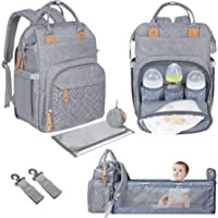 Diaper Bag Backpack with Changing Bed [Upgraded Travel Bassinet Station Design],Detachable Pacifier Holder,Soft Changing…