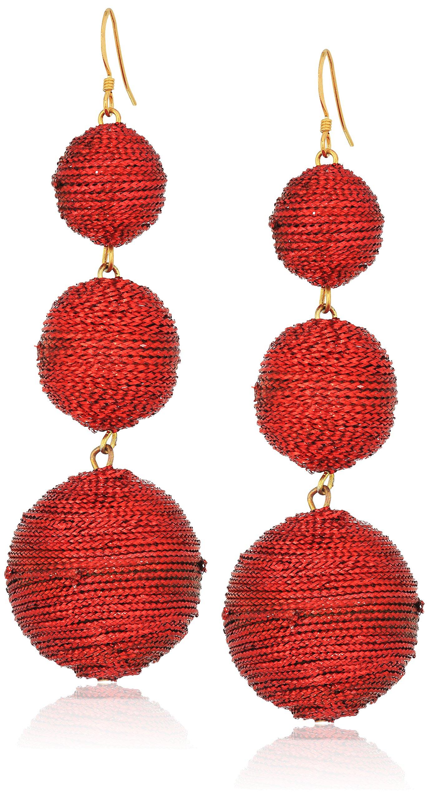 Kenneth Jay Lane Women's Red 3 Threaded Ball Fishhook Drop Earrings
