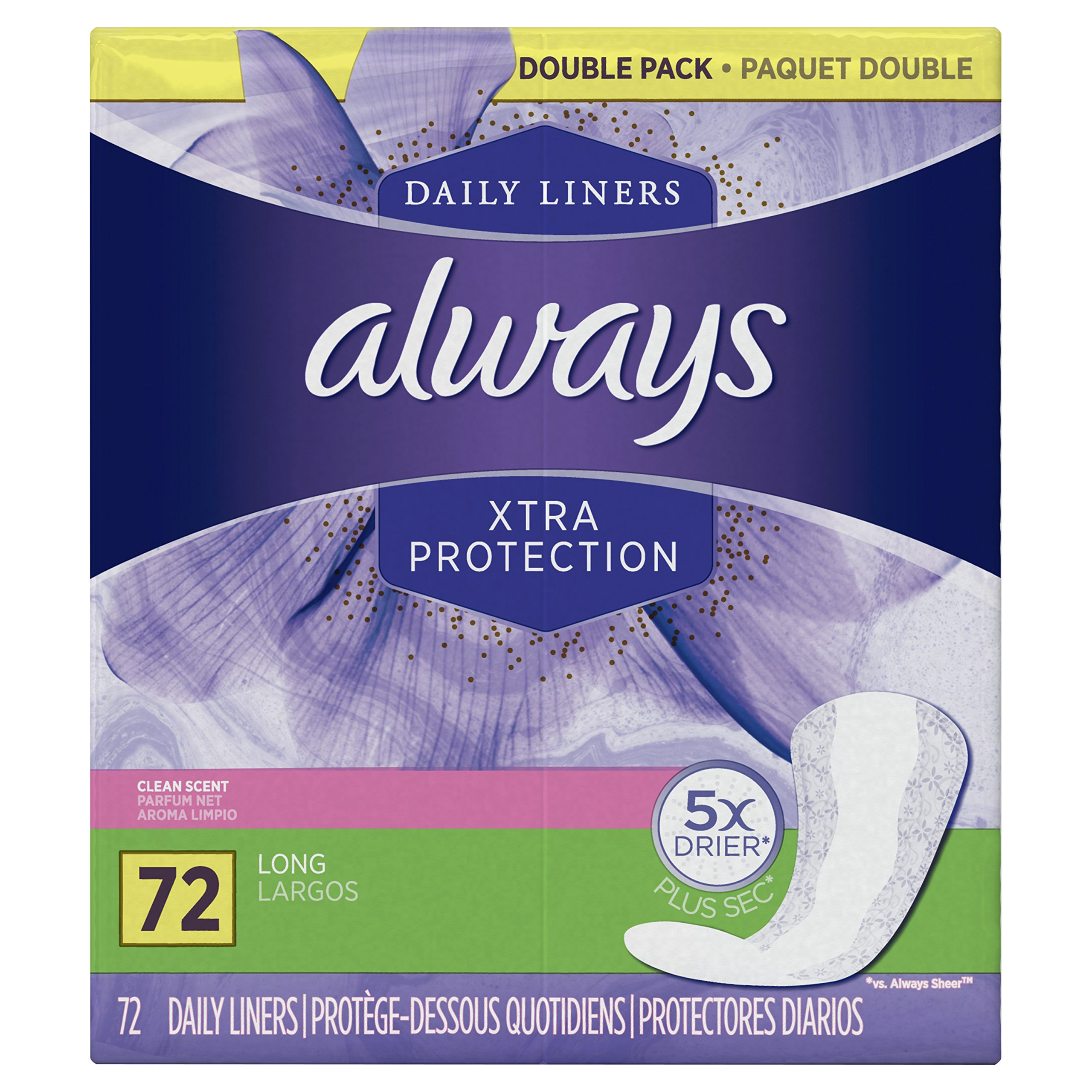 Always Xtra Protection Daily Feminine Panty Liners for Women, Long Length, Fresh Scent, 72 Count (Pack of 4) by Always
