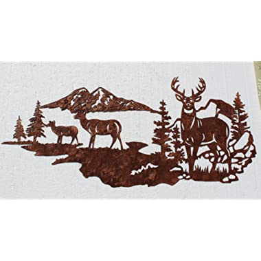 Say It All On The Wall Buck with Does, Deer Mountain Scene Metal Wall Art Country Rustic Decor