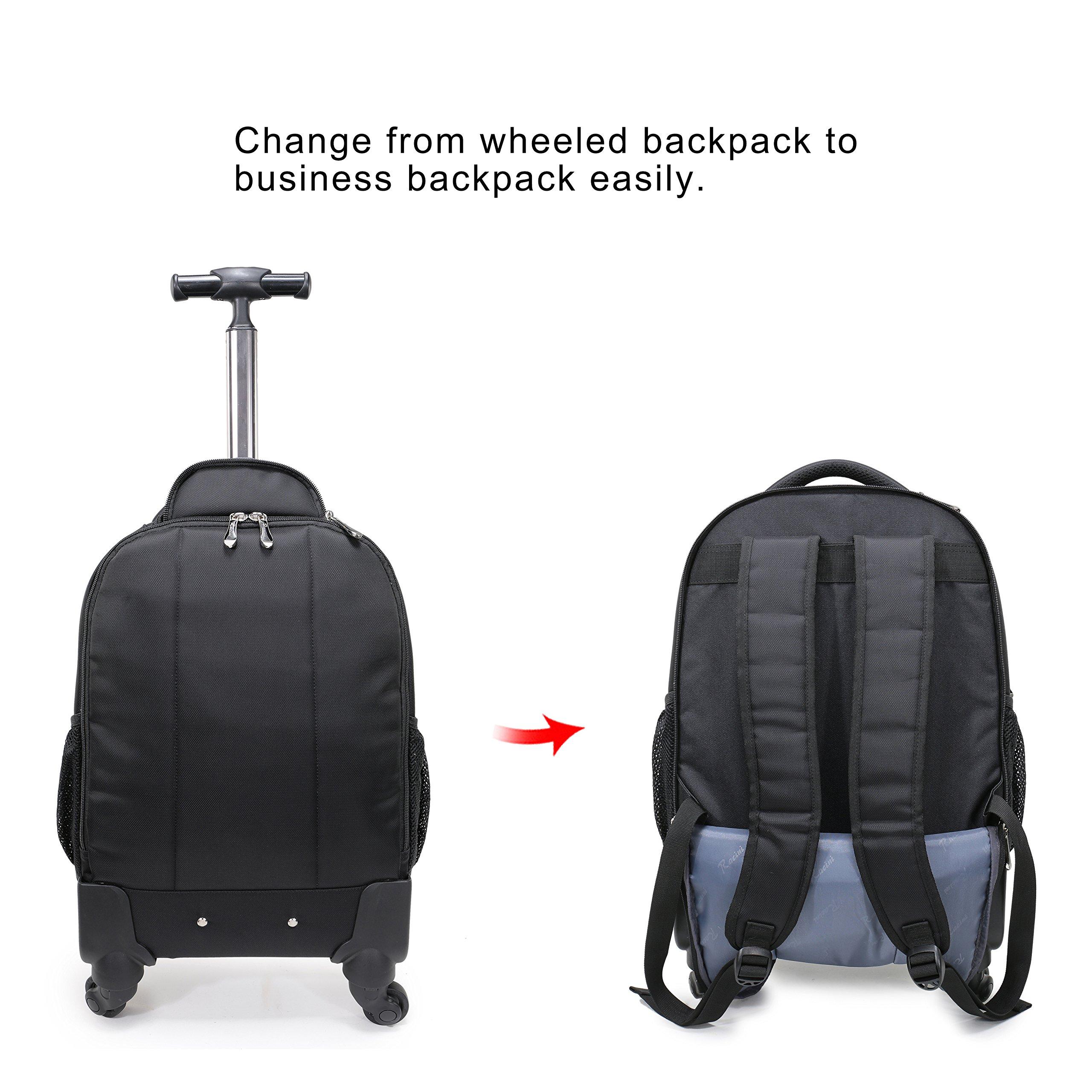 Racini Nylon Waterproof Rolling Backpack, Freewheel Travel School Wheeled Backpack, Carry-on Luggage with Anti-theft Zippers (Black) by Racini (Image #4)
