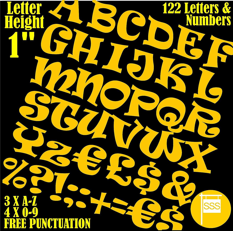 Professionale, confezione da 122pezzi x 2,5cm (2.5cm) adesivo giallo lettere e numeri adesivi free punteggiatura wash-proof scritta grande sign-writing Water Proof qualsiasi progetto font Ravie SmartSignsSolutions