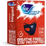 Fine Guard Sport Anti-Viral Face Mask - Olympian Endorsed, Running, Gym, Fitness, Yoga, Cycling - Medium [2 x Reusable…