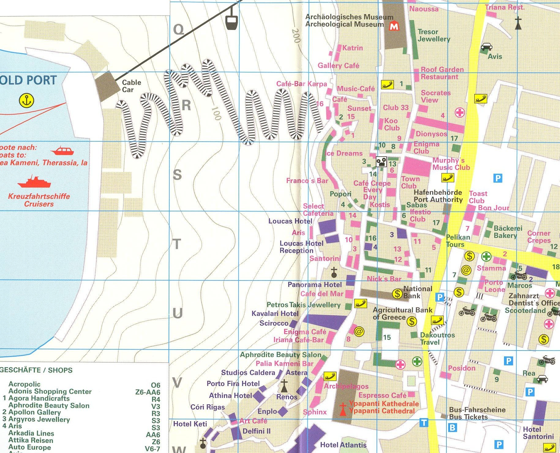 Santorini Greece 125 000 Visitors Map with street plans REISE
