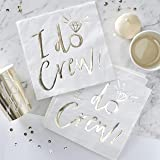 Ginger Ray ID-409 Crew Paper Napkins-16 Pack, White/Gold