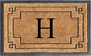"A1 HOME COLLECTIONS A1HOME200128-H A1HC-Designer Hand-Crafted Rubber & Coir Frame Molded Double Door Mat, Perfect and More Functional Size 24""X36"" Monogrammed, H"
