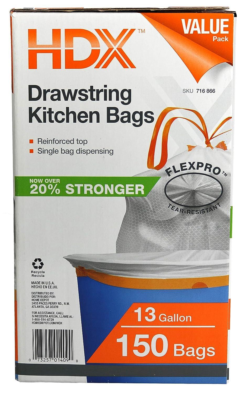 HDX hdx716866 13 gal cocina cordón blanco bolsa de basura: Amazon.es: Amazon.es