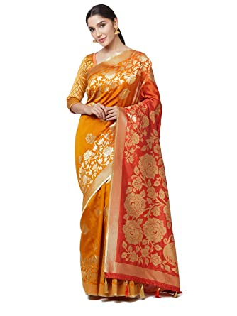 4bfd5a8b7164f SareeShop Sarees Women s Yellow Color Cotton Silk Jacquard Saree With Blouse    591F9AC66AA2484F  Amazon.in  Clothing   Accessories