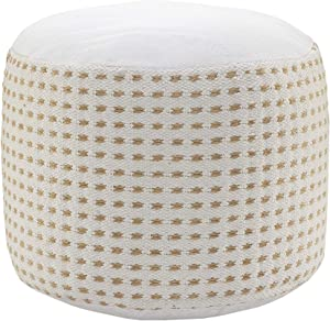Handcrafted Dashing Geometric Natural Jute Pouf