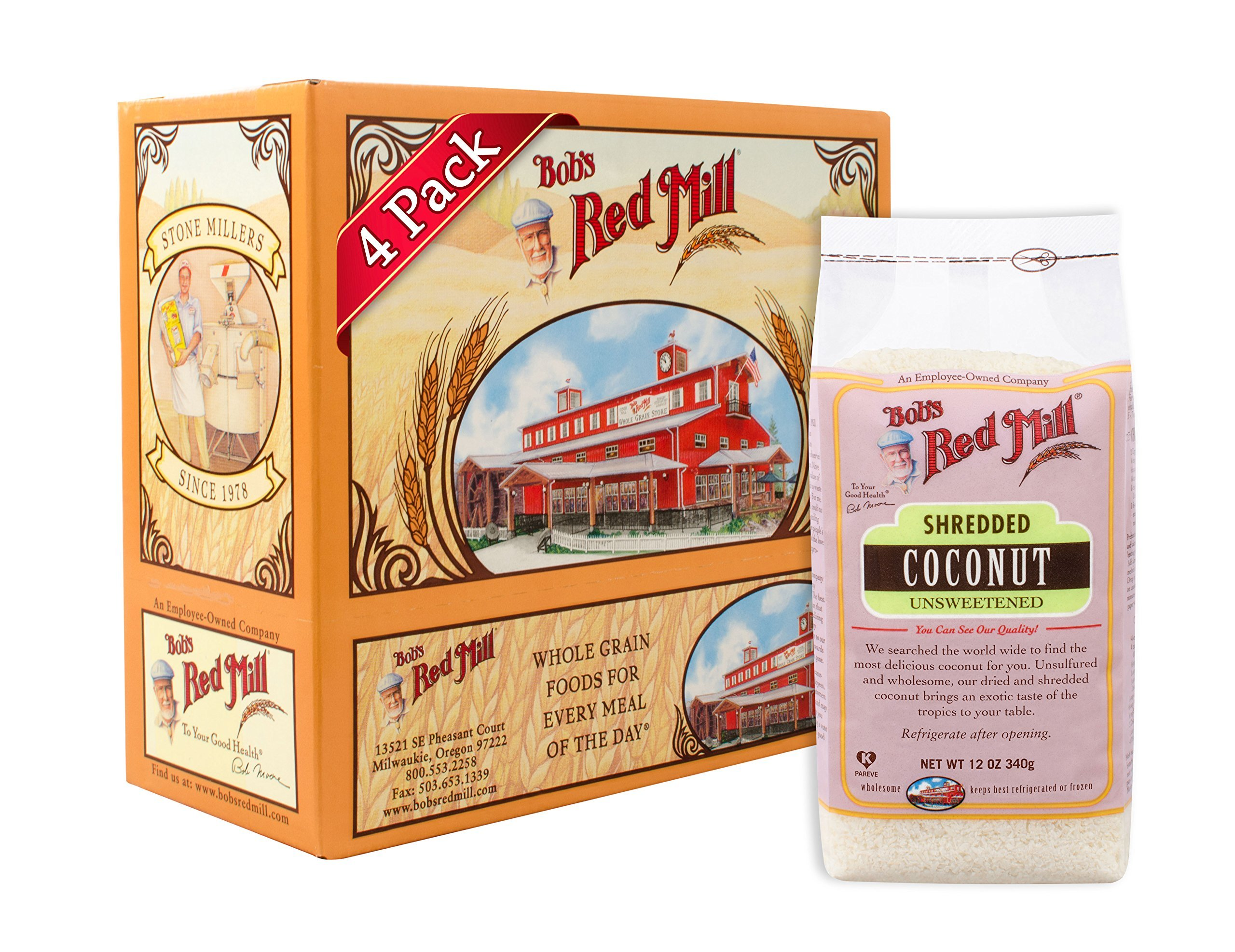 Bob's Red Mill Shredded Coconut (Unsweetened), 12-ounce (Pack of 4)