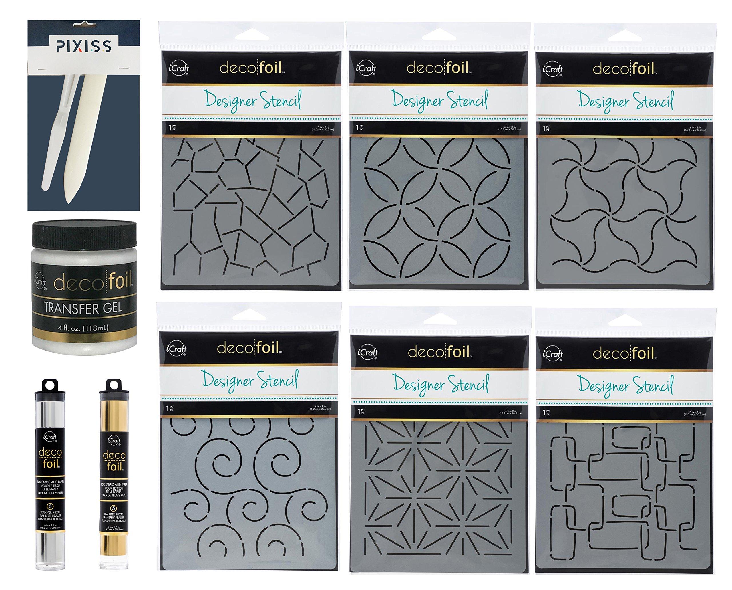 iCraft Deco Foil Designer Stencil Bundle, 6 Stencils, Transfer Gel, Pixiss Bone Folder and Palette Knife, Deco Foil Transfer Sheets Gold and Silver by Bundled Brands