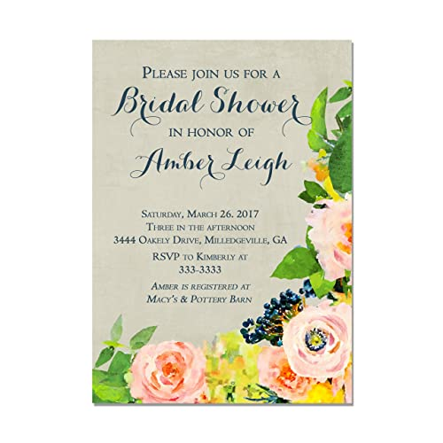 Amazon watercolor floral with navy and coral bridal shower watercolor floral with navy and coral bridal shower invitations set of 10 invitations with white filmwisefo