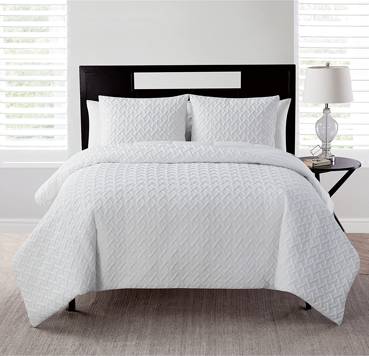 VCNY Home Nina Collection Comforter Set - Ultra-Soft Bedding - Embossed Geometric Pattern Texture - Smooth, Cool, and Breathable, Machine Washable, Twin/TwinXL, Taupe 2 Piece
