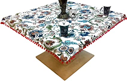 Miyanbazaz Textiles 100% Cotton Floral Print Tea/Coffee Table Cover with Red Color POM-POM Lace Border Multi Color