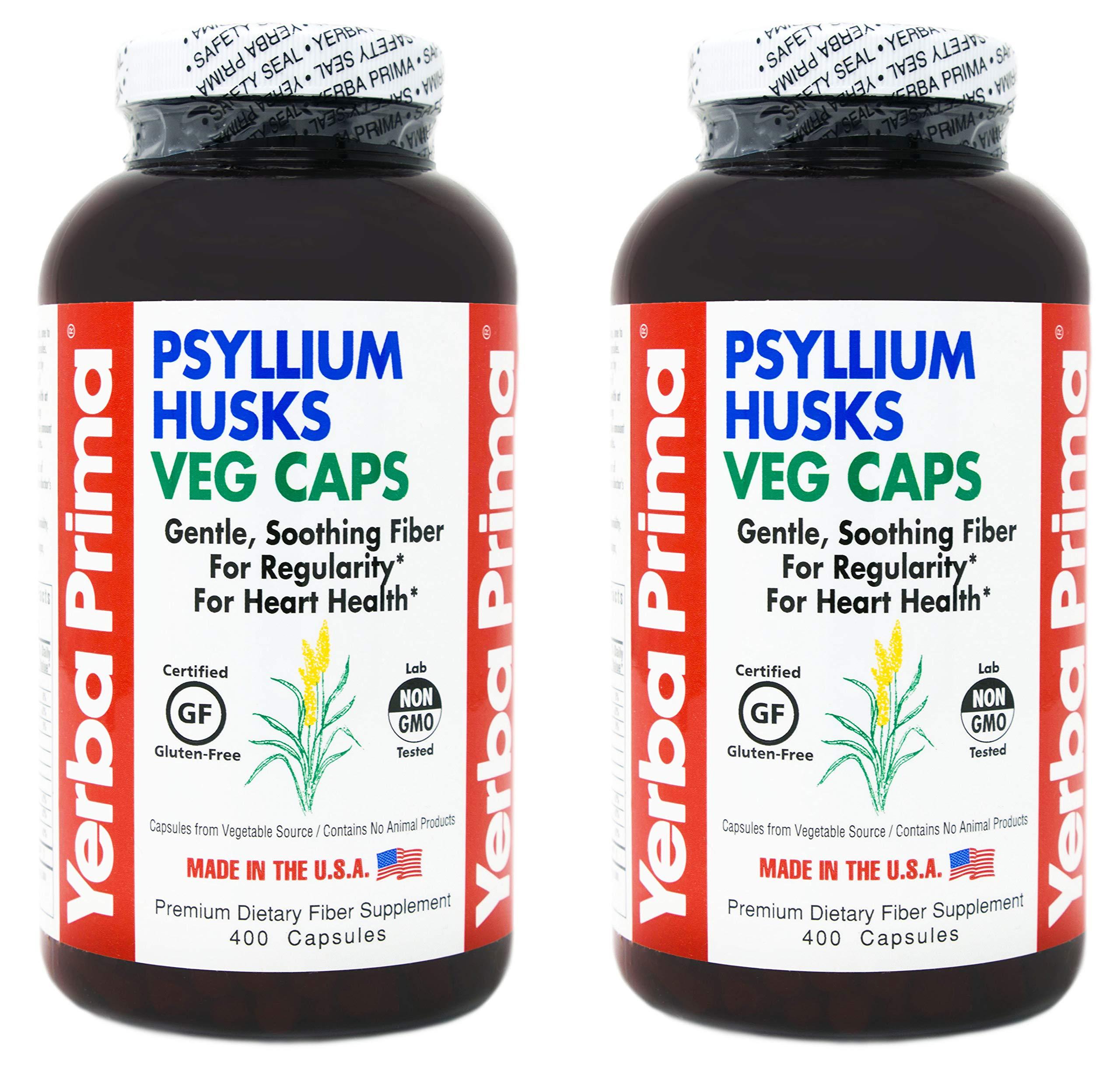 Yerba Prima Psyllium Whole Husk Capsules - 400 Veg Caps (Pack of 2)