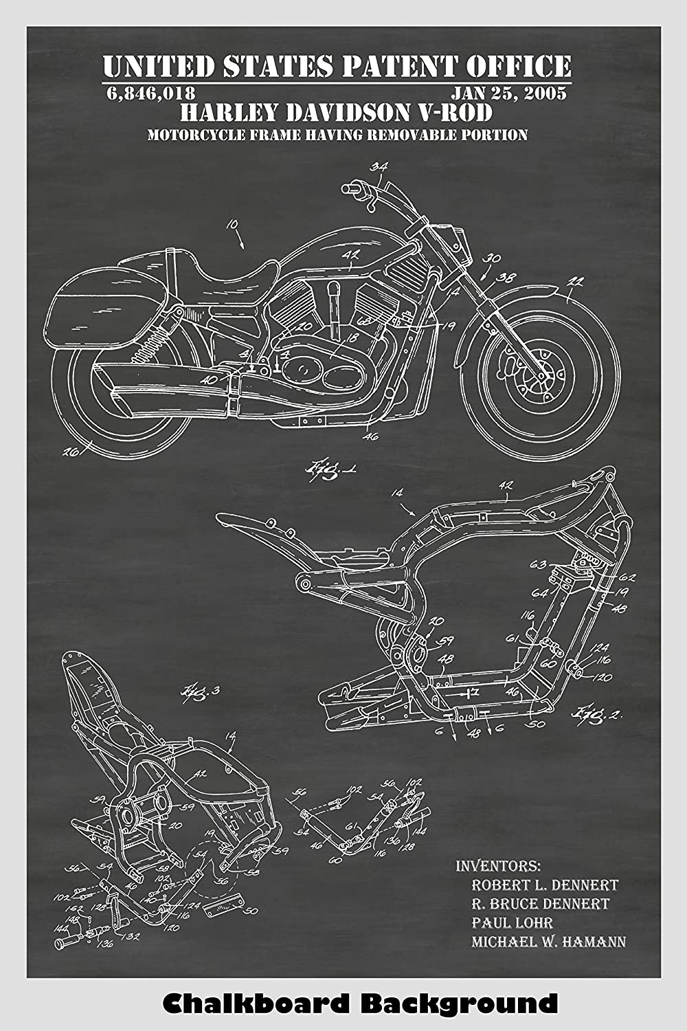 Harley Davidson V-Rod Motorcycle Patent Print Art Poster: Choose From Multiple Size and Background Color Options