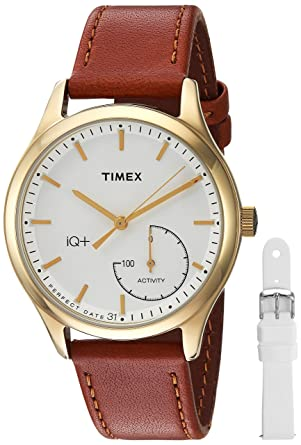 f148a6baff60 Timex Women s TWG013600 IQ+ Move Activity Tracker Brown Leather Strap Smart  Watch Set With Extra White
