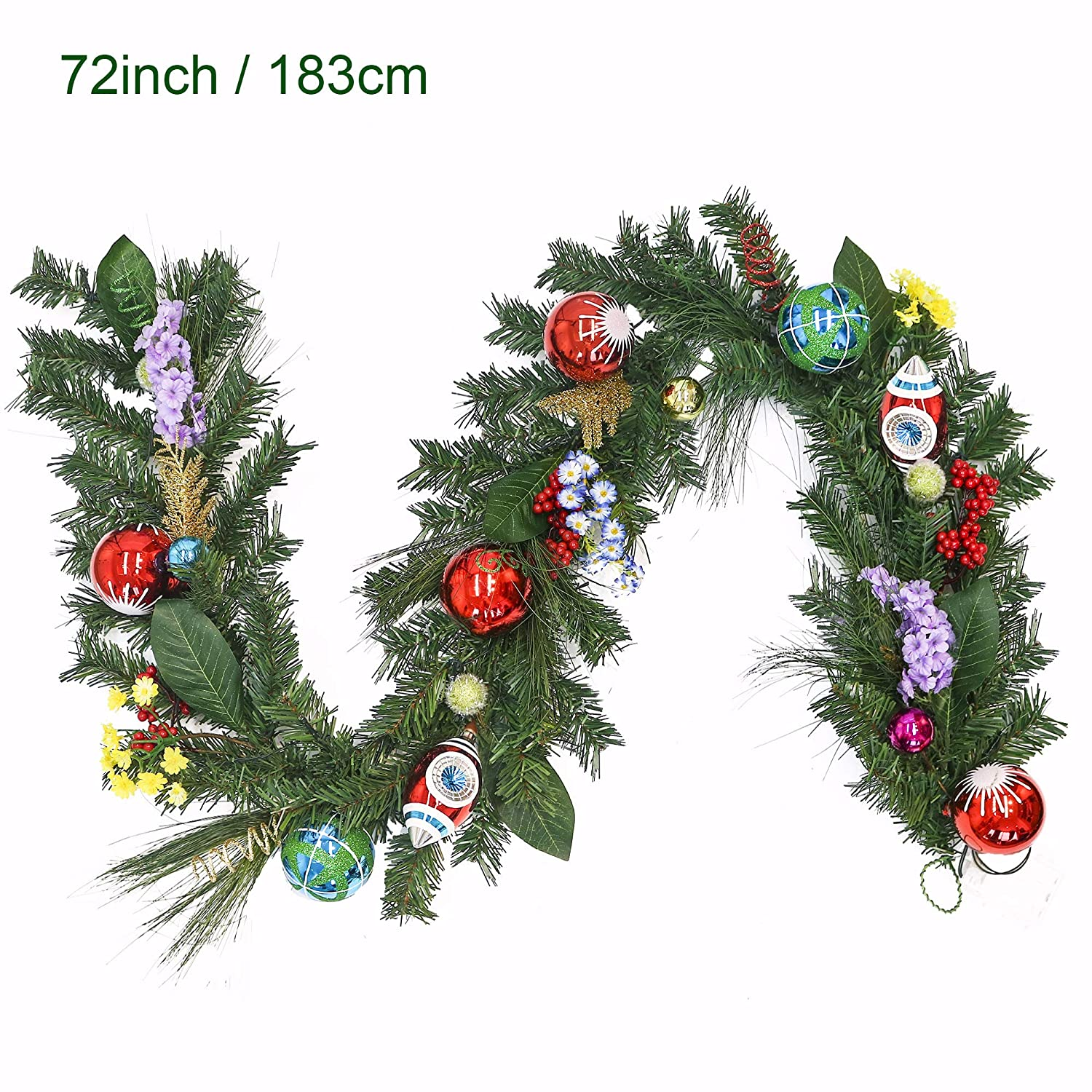 Pre Lit 6 Feet 72 Inch Classic Collection Splendor Red Green And White Christmas Garland With Ball Ornaments And Flowers Battery Operated 20 Led