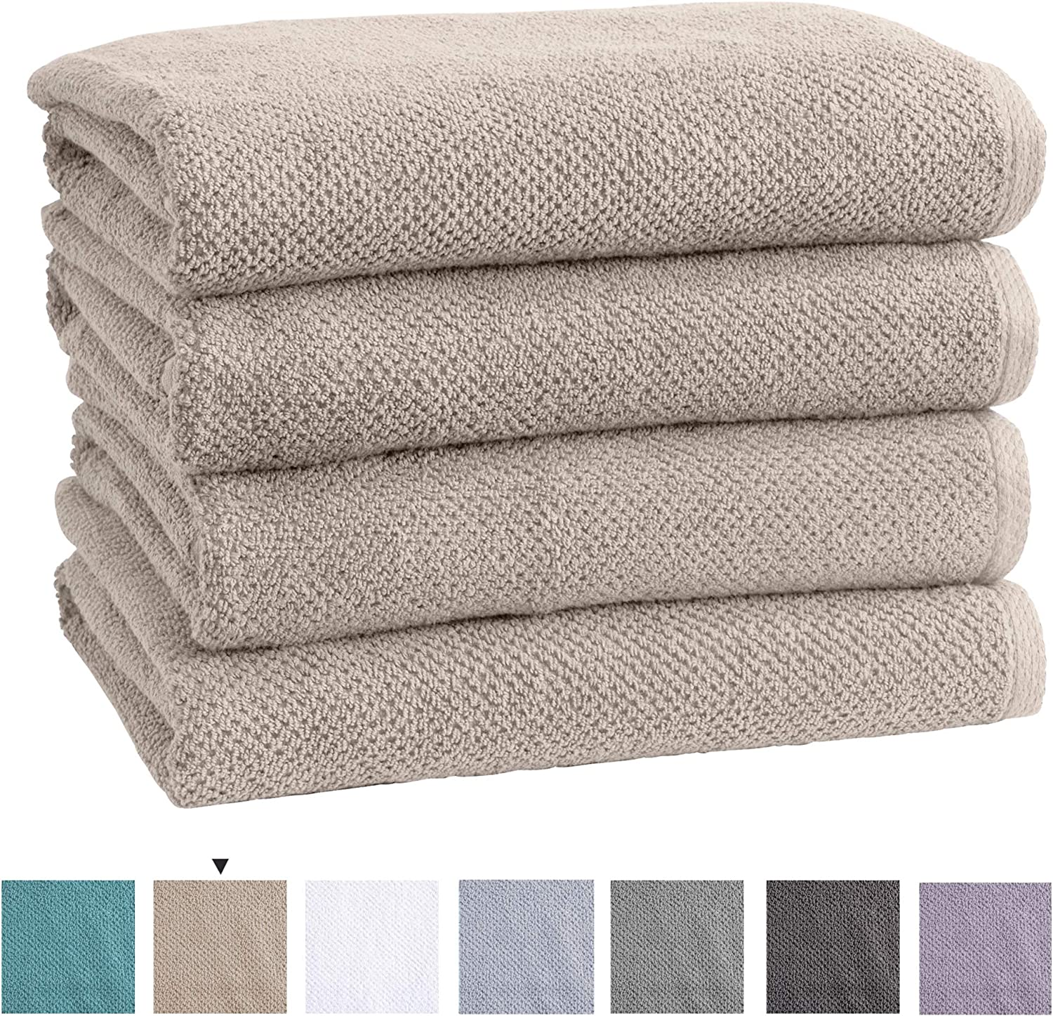Great Bay Home 100% Cotton Quick-Dry Bath Towel Set (30 x 52 inches) Highly Absorbent, Textured Popcorn Weave Bath Towels. Acacia Collection (Set of 4, Silver Cloud)
