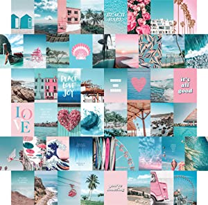 Blue Aesthetic Wall Collage Kit, 50 Set 4x6 inch, Pink VSCO Room Decor for Teen Girls, Summer Beach Wall Art Print, Dorm Photo Collection, Small Posters for Room Aesthetic…