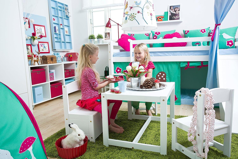 Bois Hoppekids Mathilde Ensemble de Table//chaises et Banc pour Enfant Blanc