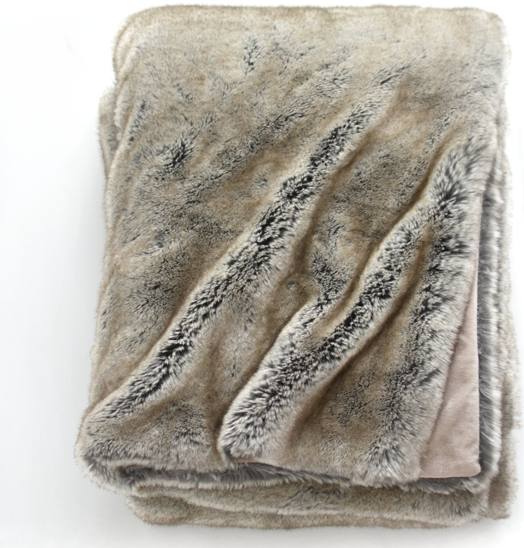 Luxury Faux Fur Oversized Throw Blanket with Plush Velvet Reverse, Fox Lynx or Gray Mink (Timber Wolf) by Soft Throw