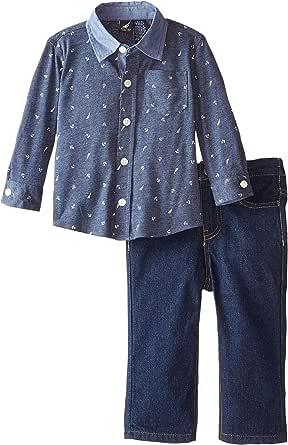 Nautica bebé niños '2Piezas Impreso Tejido Camisa Denim Jean, Azul Marino