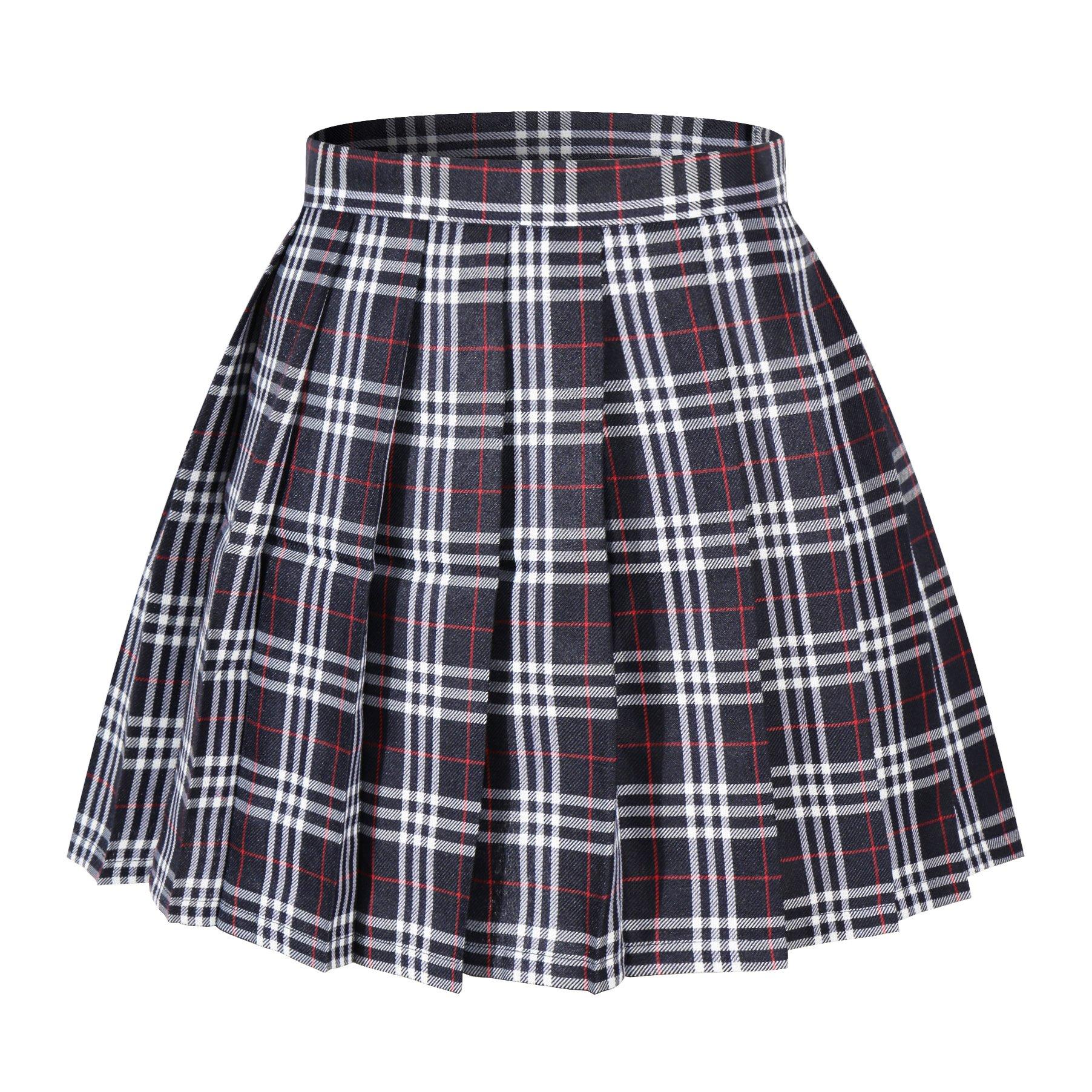 Beautifulfashionlife Girl's A-Line Kilt Plaid Pleated Skirts (XS,Dark Blue Mixed White)