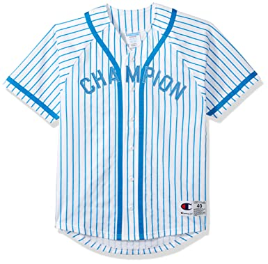 464a609af291 Champion LIFE Men's Braided Baseball Jersey, White/Champion Vert Hotline  Blue Pinstripe, ...