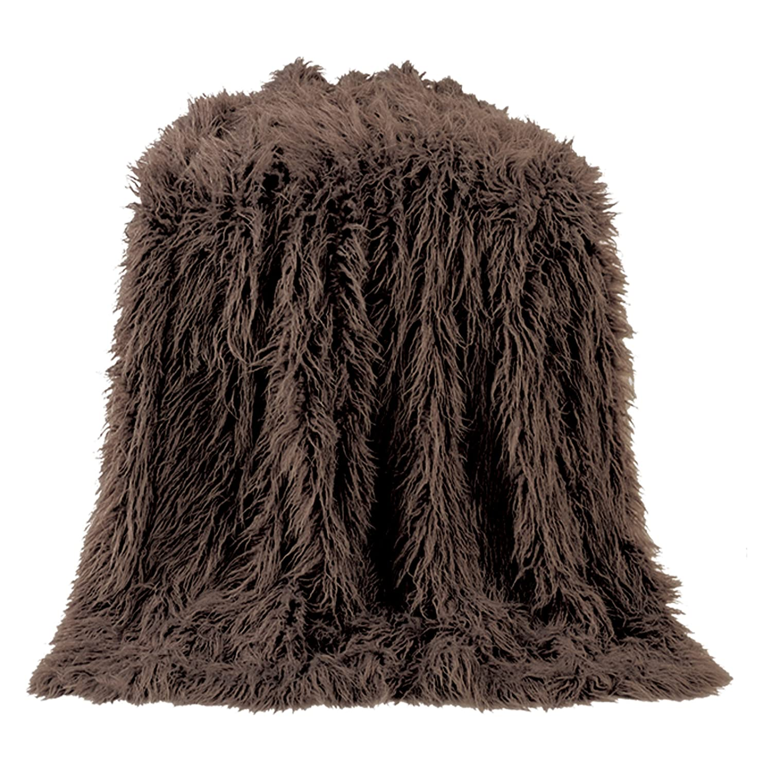 HiEndアクセントMongolian Faux Fur Throw One Size ブラウン TR5003-OS-CH B01FELB1SE チョコレート