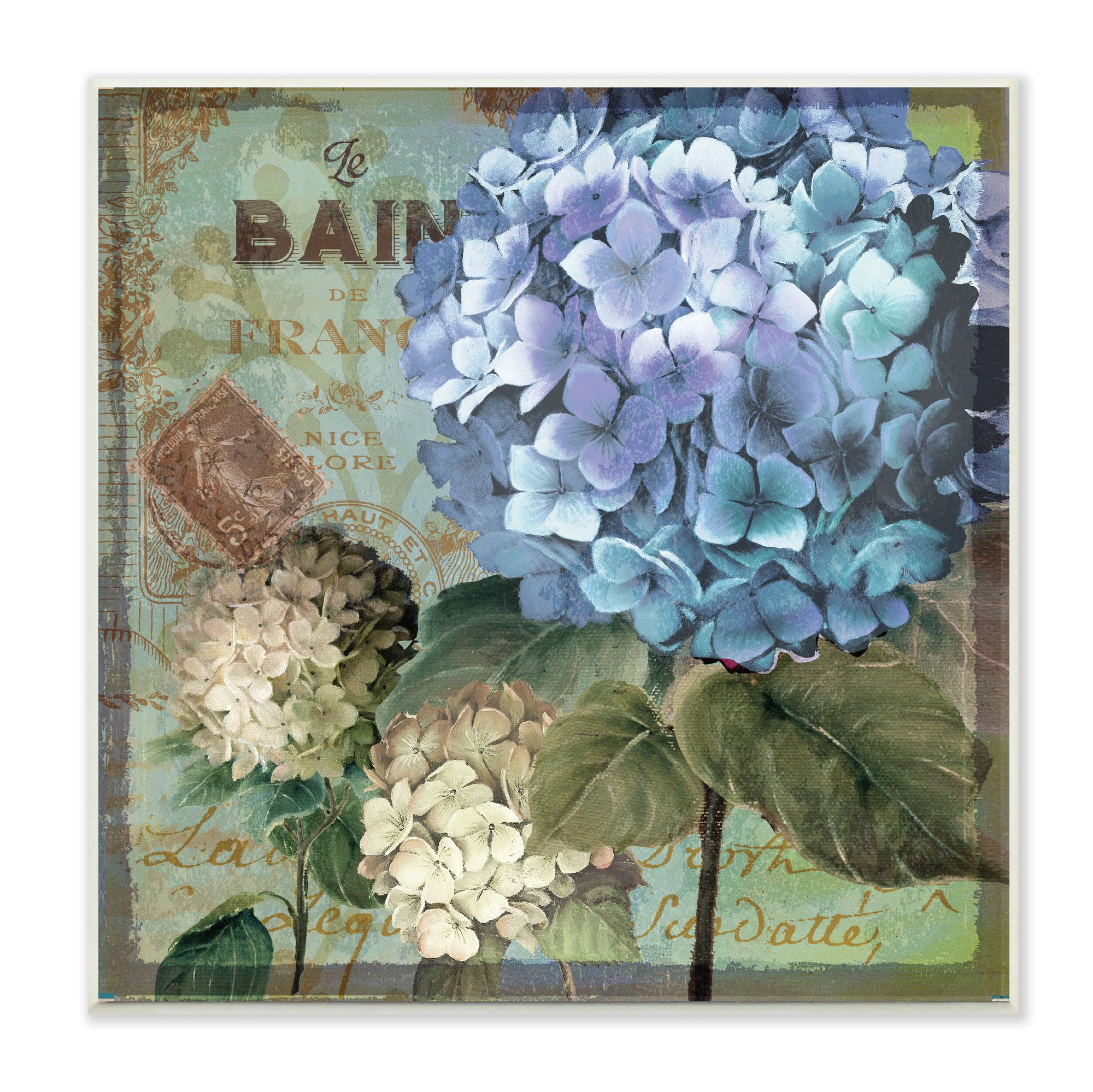 Stupell Home Décor Colorful Hydrangeas with Antique French Backdrop Wall Plaque Art, 12 x 0.5 x 12, Proudly Made in USA