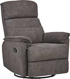 """Ravenna Home Pull Recliner with Rotating 360 Swivel Glider, Living Room Chair, 27.6""""W, Grey"""