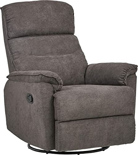 Amazon Brand Ravenna Home Pull Recliner with 360 Rotating Swivel Glider, Living Room Chair, 39 W, Grey