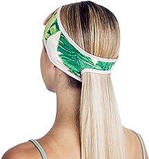 Kitsch Spa Headbands for Women- Makeup Headband, Headbands for Washing Face and Facial Headband with Ponytail (Palm Leaves)