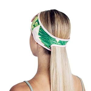 Kitsch Spa Headbands for Women- Makeup Headband, Headbands for Washing Face and Facial Headband with Ponytail (Palm Leaves)