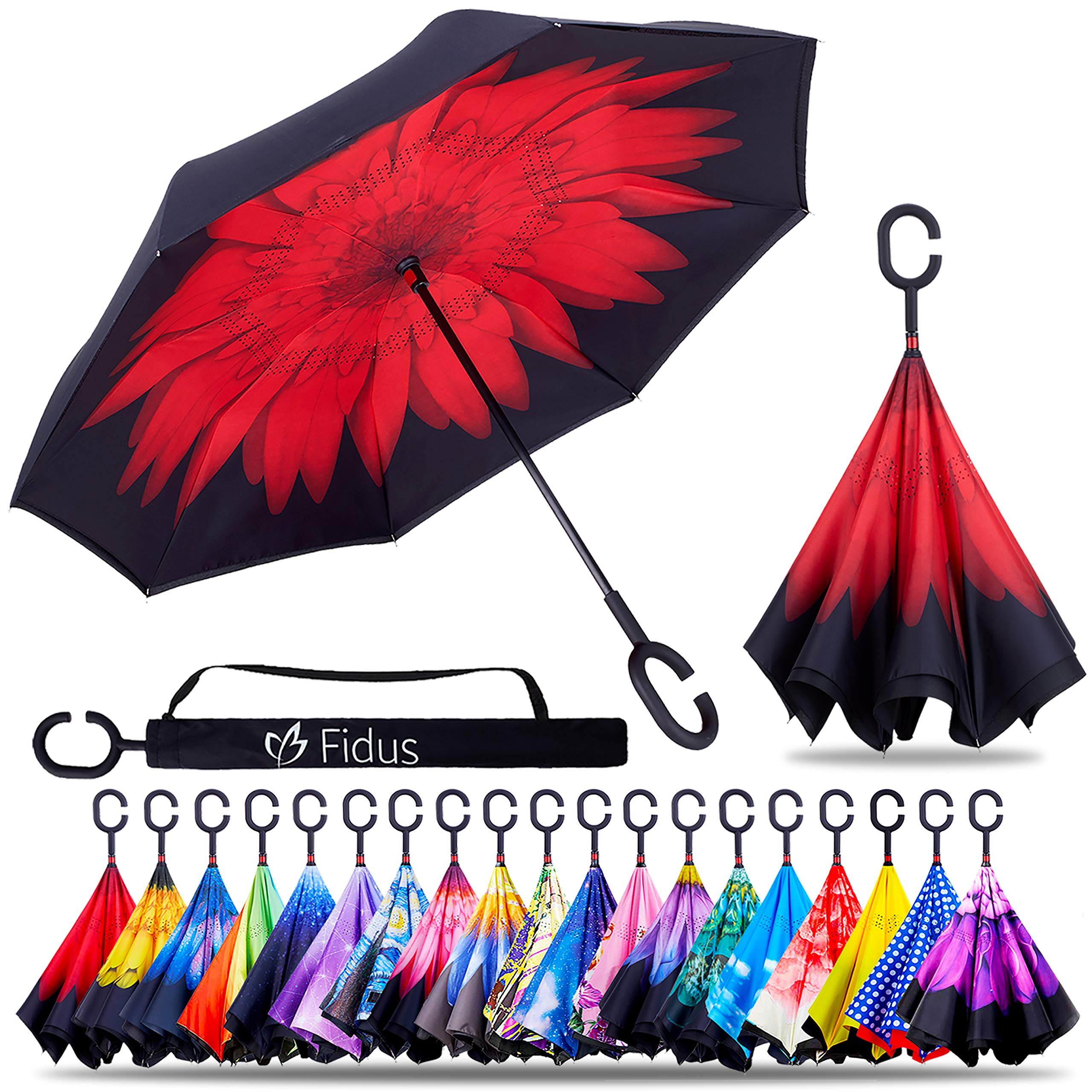 Fidus Double Layer Inverted Reverse Umbrella, Winproof Waterproof Folding UV Protection Self Stand Upside Down Large Car Rain Golf Outdoor Rain Umbrella with C-Shaped Handle for Men Women(Red Rose)