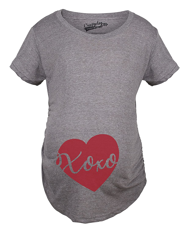 Maternity XOXO Script Heart Cute Pregnancy Announcement T Shirt