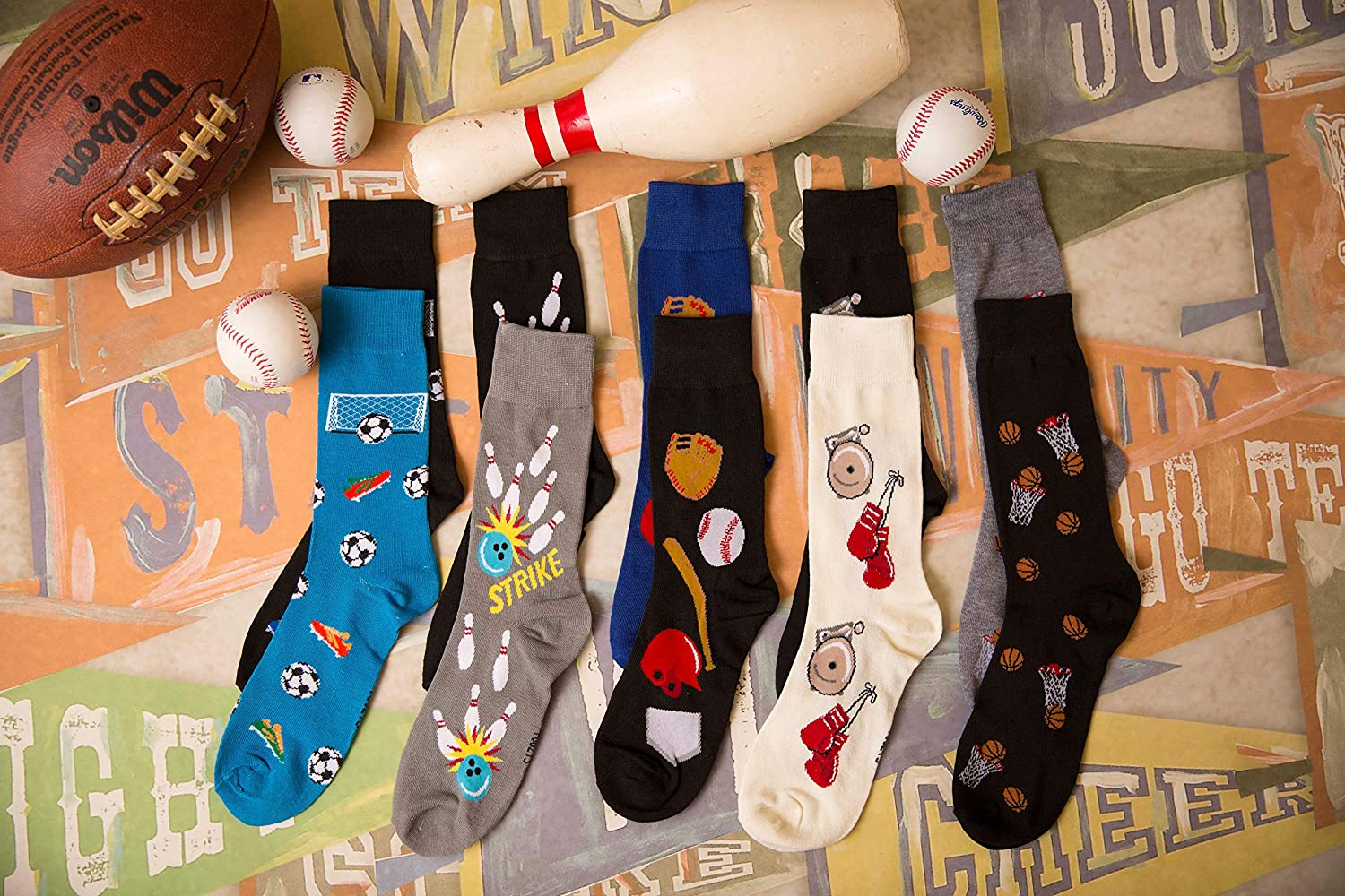 Foozys Mens Fun Crazy Cool Sports Themed Novelty Crew Socks | 2 Pairs Included in Two Colors