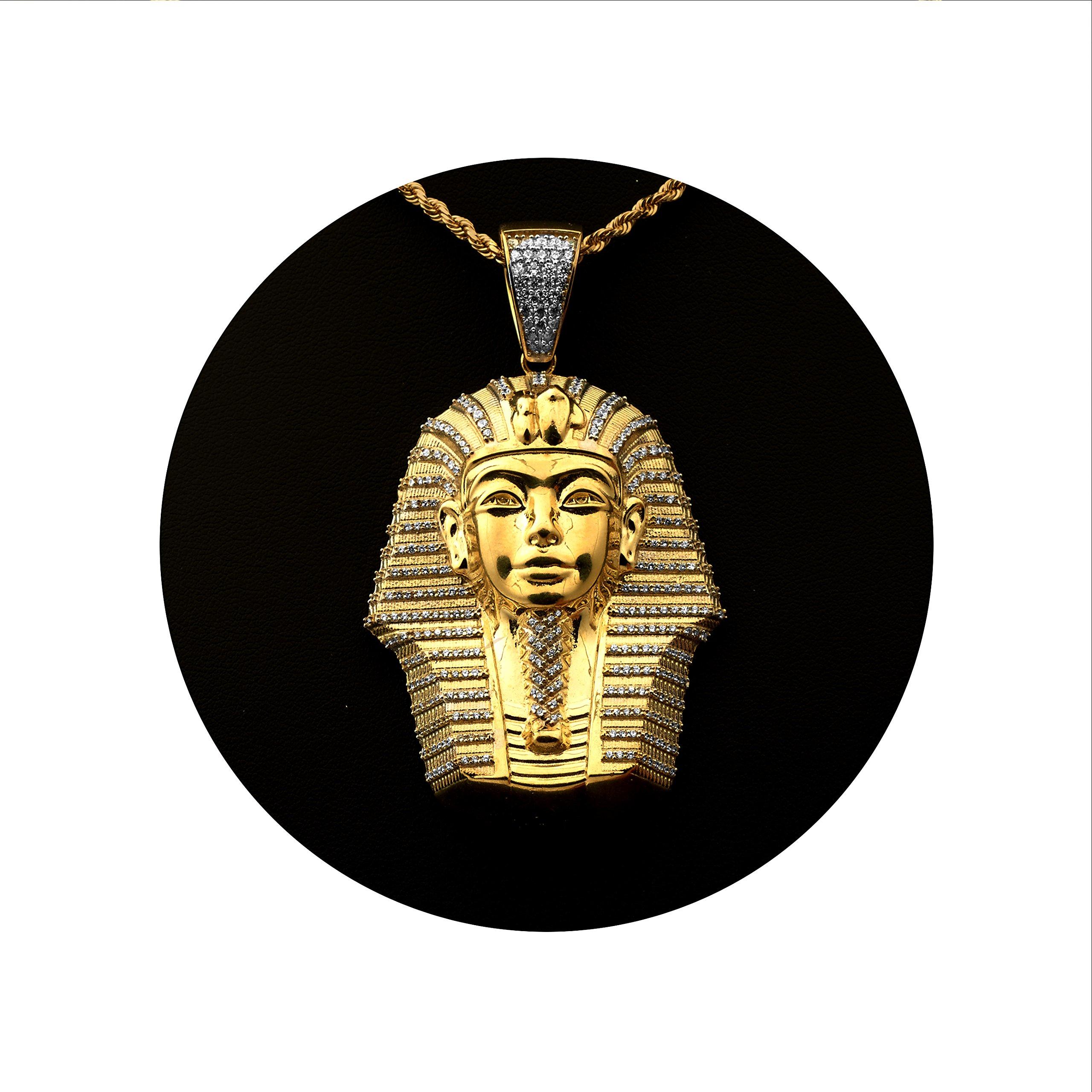 Love Bling 10k Yellow Gold Egyptian Pharaoh Head Charm Pendent (2.72'' x 1.58'')