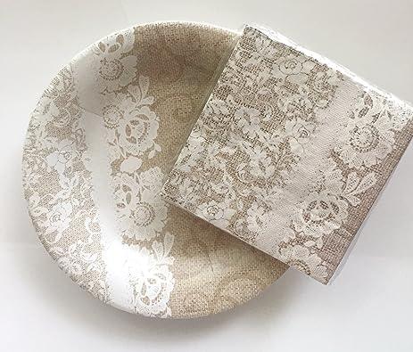 Amazon.com: Burlap & Lace 8 inch Plates & Napkins, Bundle, 12 plates ...