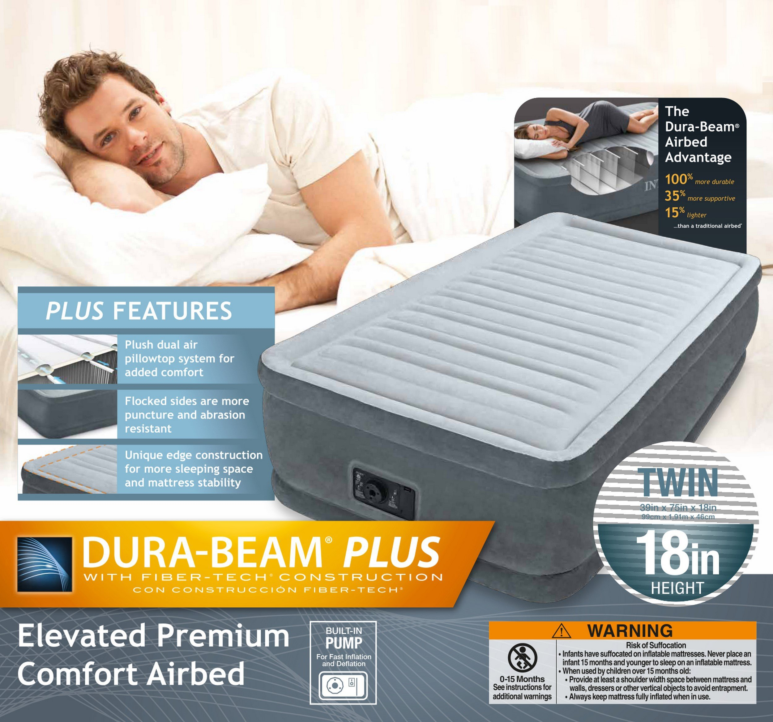 Intex Comfort Plush Elevated Dura-Beam Airbed with Built-in Electric Pump, Bed Height 18'', Twin by Intex (Image #25)