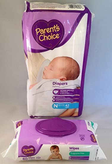 Parents Choice Newborn 42 Count Diapers & Parents Choice Fragrance Free Wipes, 80 Count (