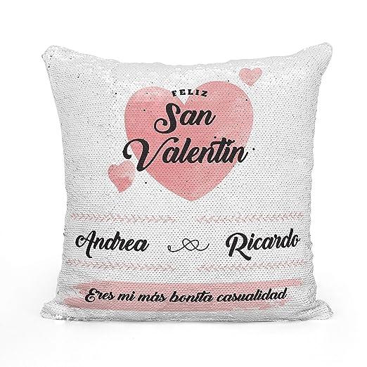 AR Regalos Cojín San Valentín Personalizado de Lentejuelas Reversibles (Rosa)