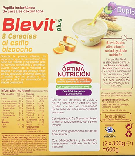 Amazon.com : Blevit PLUS DUPLO 8 CEREALES ET ORANGE GÂTEAU 600 G : Grocery & Gourmet Food