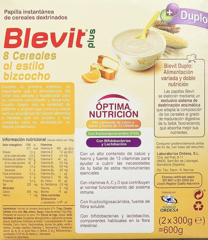 Blevit Plus Duplo 8 Cereales Al Estilo Bizcocho - Paquete de 2 x 300 gr - Total: 600 gr: Amazon.es: Alimentación y bebidas