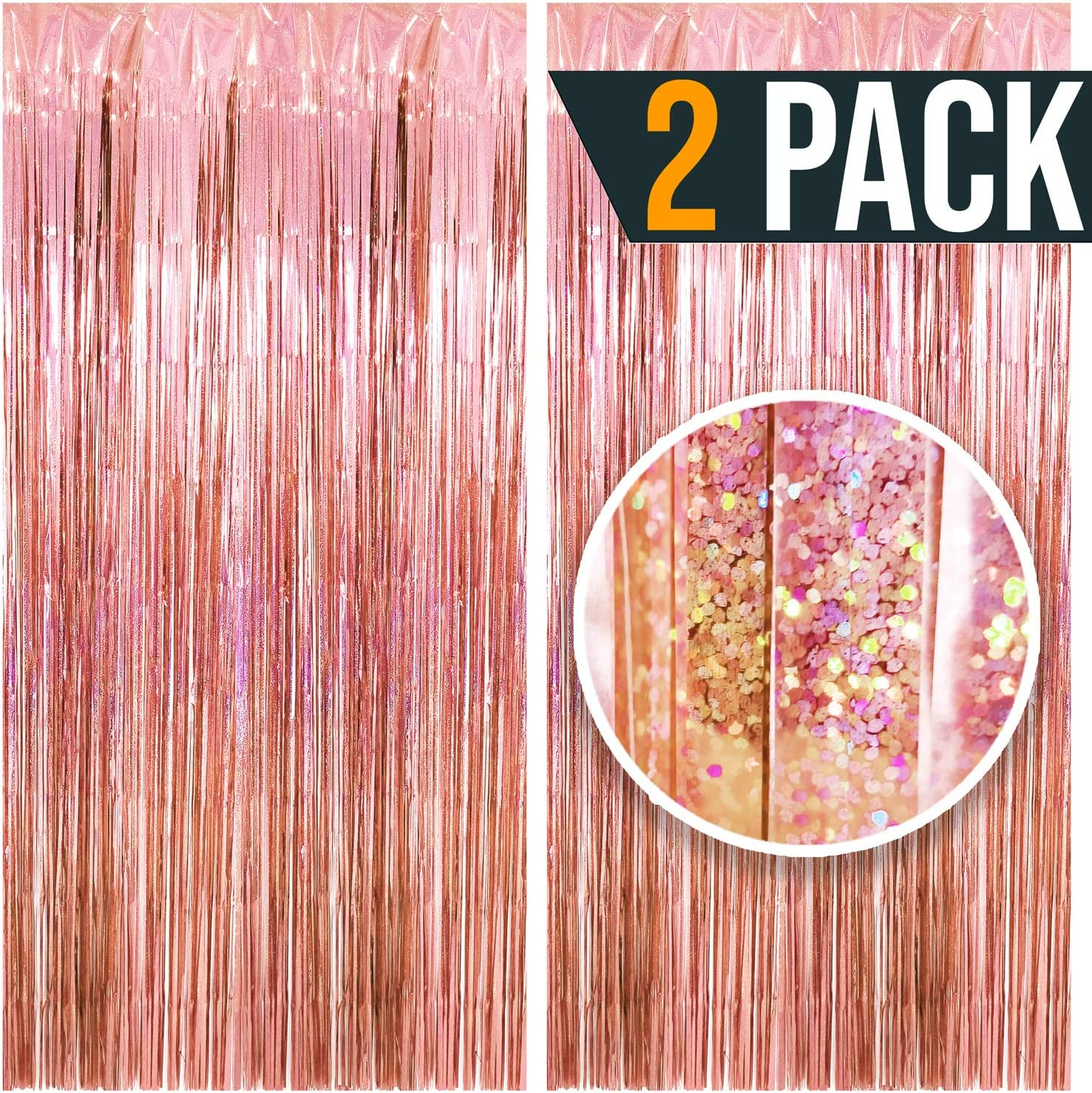 3.25 x 6.7 ft (2 Pack) Tinsel Foil Fringe Curtains Party Decorations Photo Booth Backdrop | Wedding Décor Baby Shower Graduations Valentine day Bachelorette Birthday Decorations (Blush Pink (Sparkly))