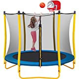 Merax 5.5 FT Kids Trampoline with Basketball Hoop, Rubber Ball and Safety Net, Mini Trampoline for Indoor Outdoor Backyard Fu