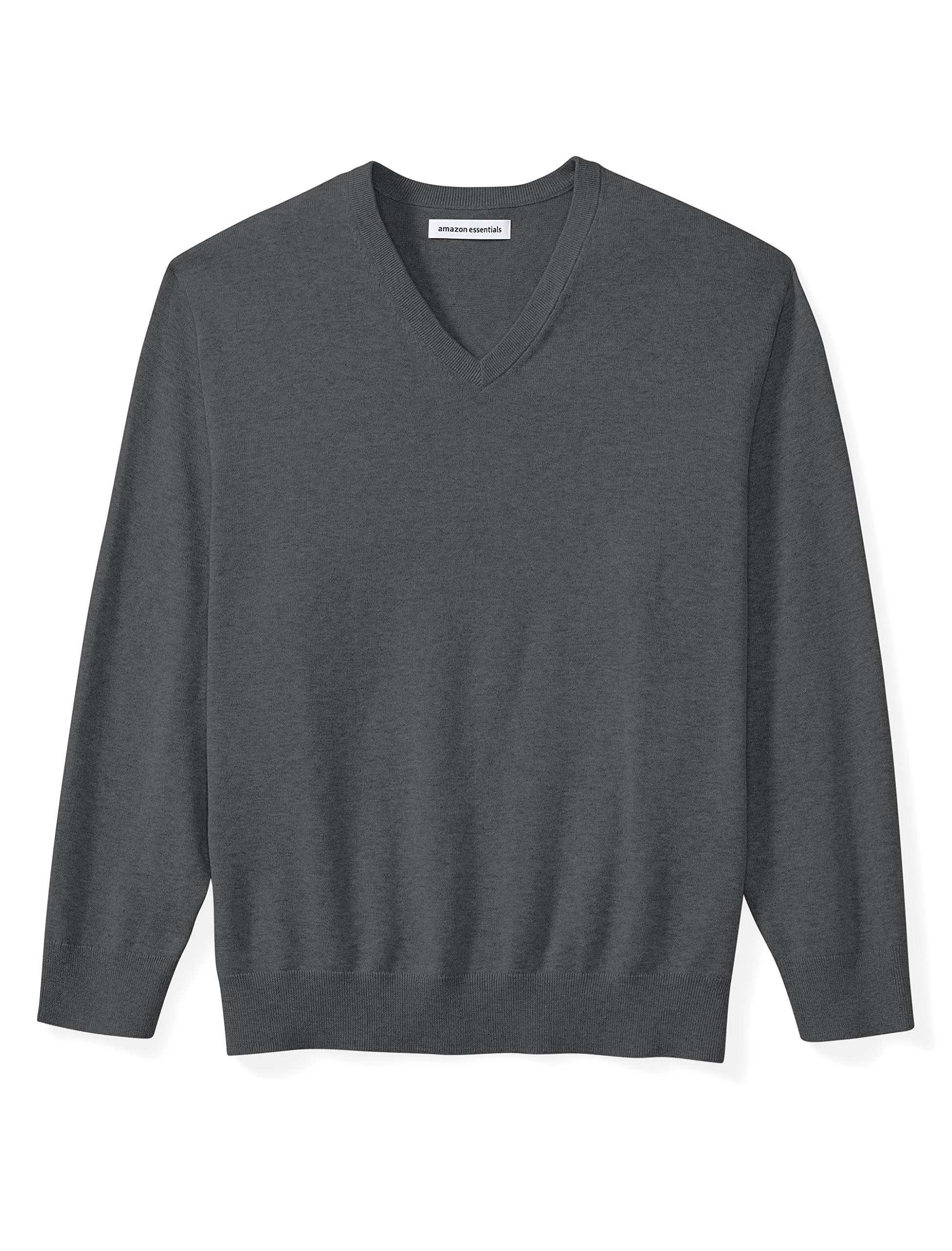 Amazon Essentials Men's Big & Tall V-Neck Sweater fit by DXL, Charcoal Heather, 4X Tall by Amazon Essentials