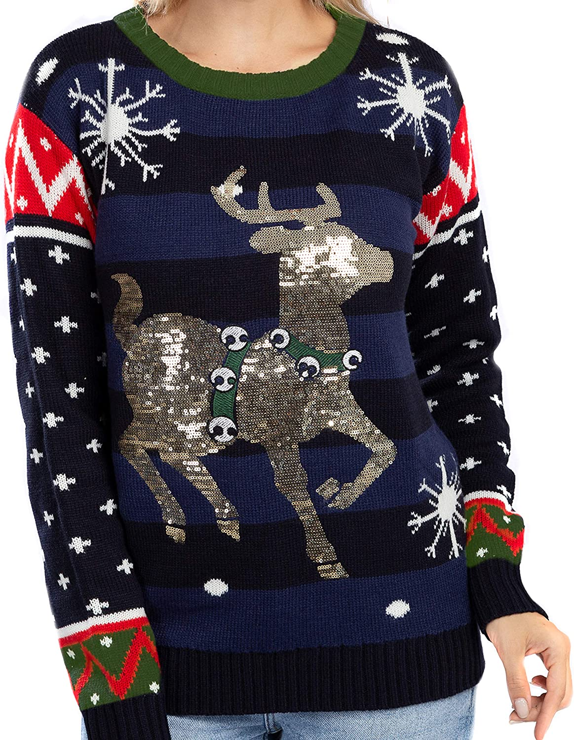 JOYIN Women's Cute Shining Christmas Reindeer Ugly Sweater Pullover Knitted Tunic for Holiday or Birthday Gift